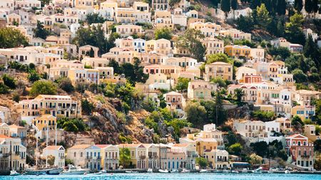 Symi Island in greece architecture harbor village