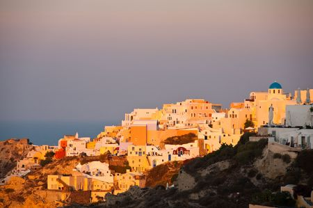 Santorini Island in greek greece village on cliff Stock Photo