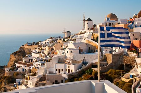 island: Santorini Island in greek greece village on cliff Stock Photo