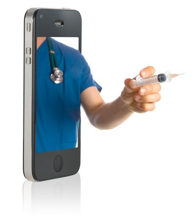 Medical professional online service on mobiole phone photo
