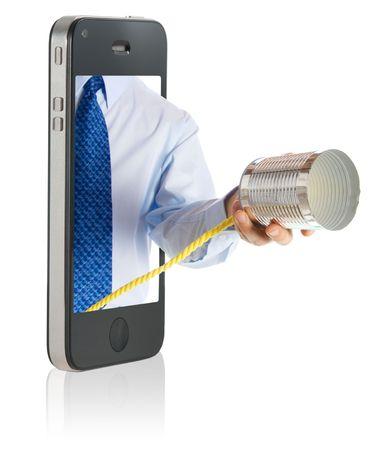 tin can telephone: a hand giving a tin can phone through a smart phone