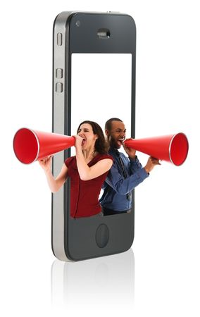 Businesspeople yelling in a red megaphone from a mobile phone photo