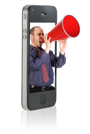 Businessman yelling in a red megaphone from a mobile phone photo