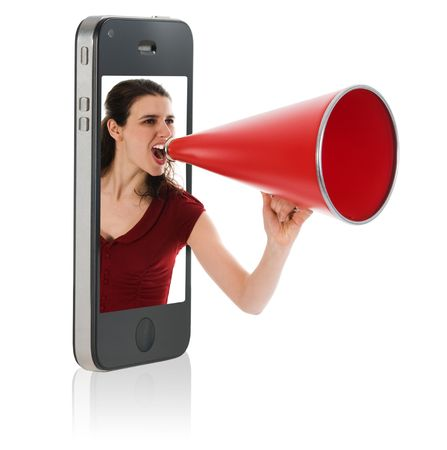 Businesswoman yelling in a red megaphone from a mobile phone photo