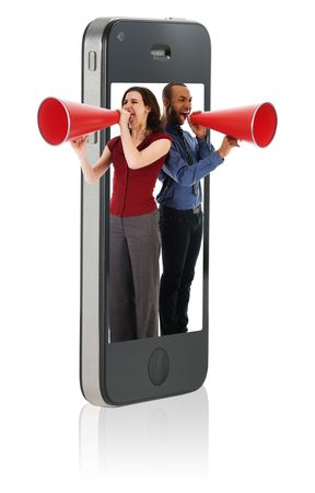 Businesspeople yelling in a red megaphone from a mobile phone