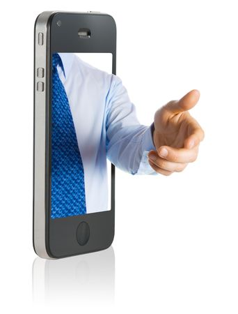 A hand giving a shake from a smart phone Stock Photo