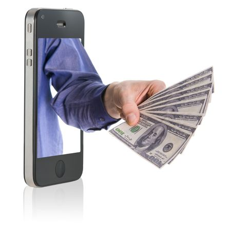Human hand holding and giving cash money on mobile phone Stock Photo