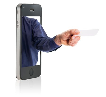 business man in a mobile phone giving a blank business card