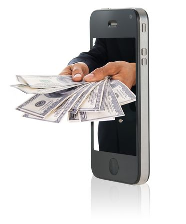 Human hand holding and giving cash money on mobile phone photo