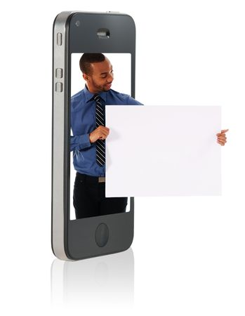 Holding Blank Cardboard in Mobile Phone Stock Photo