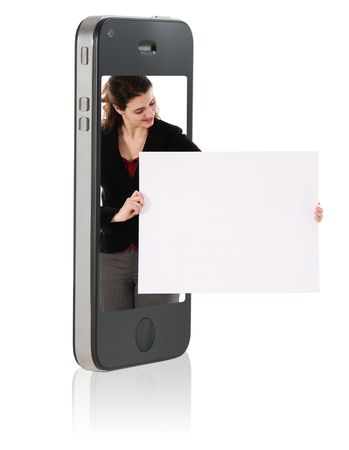 Holding Blank Cardboard in Mobile Phone Stock Photo - 7806384