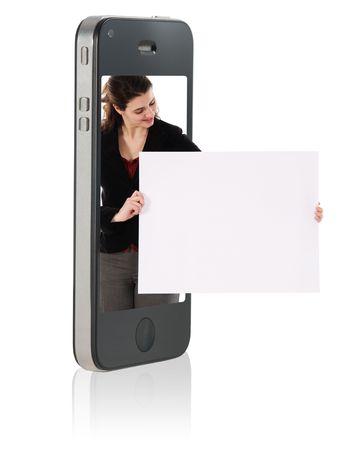 Holding Blank Karton in Handy  Standard-Bild - 7806384