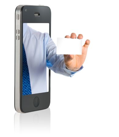 contact: business man in a mobile phone giving a blank business card
