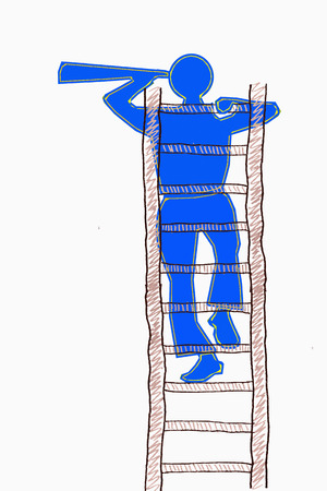 Search concept, man climbing to the top of a ladder and searching photo