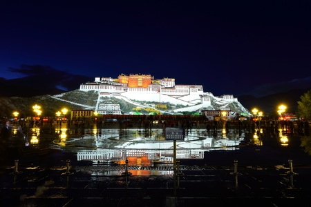 Potala Palace landscape view during the night