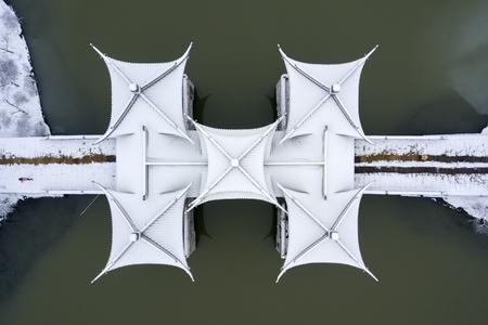 aerial photo of pavilion bridge
