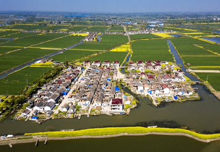 aerial photo of chinese village