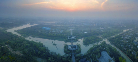 the aerial photo of ancient wall in Yangzhou China