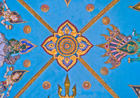 Background of colorful wall sculpture in Lao temple, Laos