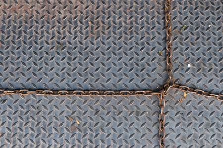 diamond plate: The metal floor intersecting the chain.