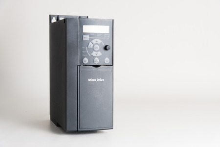 A new universal inverter for controlling the electric current and power for industrial on a gray white background.