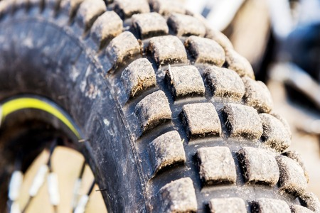 Protector of a motorcycle wheel for off-road ride enduro and trial. Stock Photo