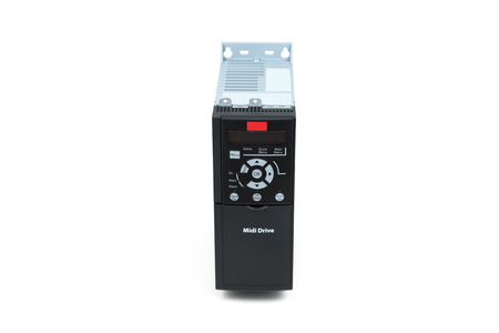 A new universal inverter for controlling electric current and power for industrial use on an isolated white background. Frequency converter - rectifier - power stabilizer. Archivio Fotografico