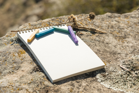 Close-up artwork for the designer. A blank notepad for drawing pastel on which lay an artistic pastel crayons color chalks of purple green blue and yellow lies on a rock in nature outdoors. The concept of creativity and unity with nature Archivio Fotografico