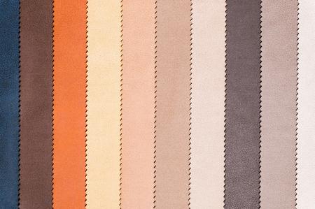 Un conjunto de muestras de tejidos para decoración de muebles, líneas de texturas textiles. Tapicería de rayas multicolores. Modo y tono para un estilo interior lujoso. Fondo abstracto Foto de archivo