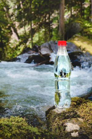 A plastic bottle with a red cap with fresh drinking water against a background of green forest and a mountain river stands on a stone with moss. The concept of pure natural mountain water Banco de Imagens