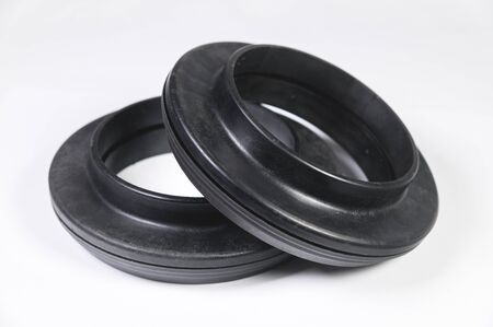 A pair of new thrust bearings absorber car on a gray background. The concept of new car parts and car service