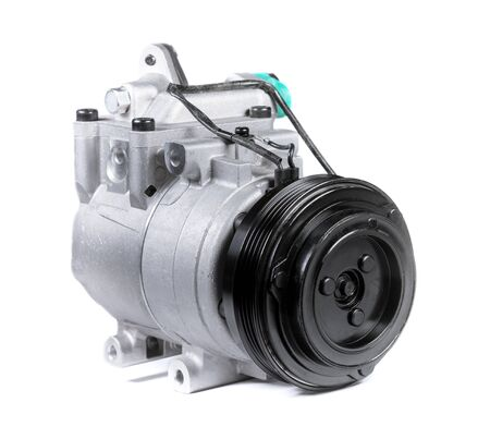 New car air conditioning compressor on isolated white background