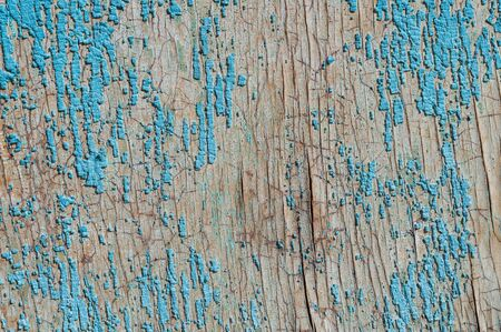 Old and peeling paint Over time, the blue paint peeled off from the old boards and the wood texture cracked. Vintage Abstract Grunge Background.