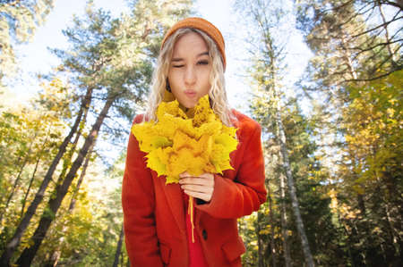 Attractive white Caucasian girl wink in red polto and orange hat is confused with a bouquet of leaves in her hands against the background of the autumn forest. Stockfoto