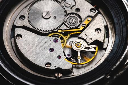 Close-up of gear mechanism of a vintage wrist watch Standard-Bild