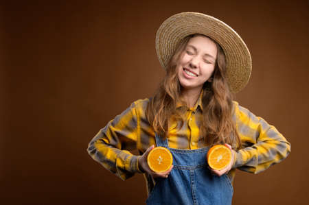 Portrait of adorable pretty playful quirky rural caucasian young woman excited cheerful casual catsuit with happy smile and closed eyes