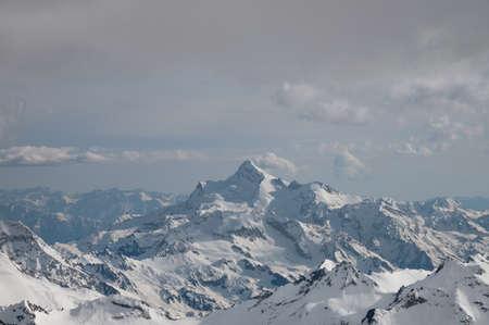 Nobody. The top of the Caucasian ridge is Mount Stavler. View from Mount Elbrus, Russia, Kabardino-Balkaria.