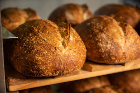Fresh artisan bread. Loaves of delicious wholesome natural hot bread. Healthy food production and proper nutrition concept Foto de archivo
