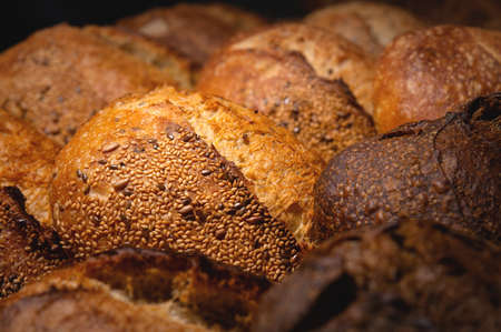 Fresh loaves of artisan hot bread. Delicious and healthy food from small bakeries