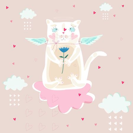 White cat with wings on a pink cloud. Illustration