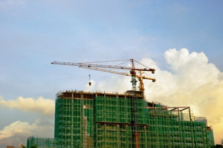 construction: Building under construction  with a blue sky Stock Photo