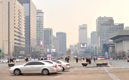 hanbok: Gwanghwamun Square,Korea 30 Dec 2014: Gwanghwamun square during winter,famous with King Sejong statue and statue of Admiral Yi SunShin Editorial
