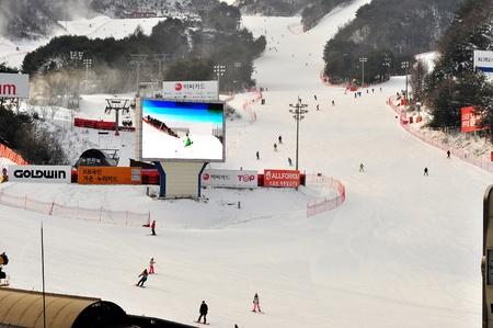 ski slopes: Gangwon-Do Province,South Korea 29 Dec 2014: Ski slopes area for skiing snowboard and sliding activities during winter season