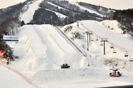 ski slopes: Gangwon-Do Province,South Korea 29 Dec 2014: Ski slopes area for skiing,snowboard and sliding activities during winter season