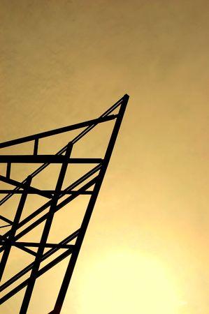 meta: Meta construction on the sunset Stock Photo