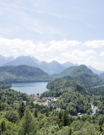 schwangau: View of Alpsee lake and Schwangau town, Bavaria, Germany