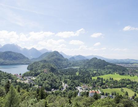 schwangau: View of Schwangau town and Alpsee lake, photoshoot from Hohenschwangau castle hill in Bavaria, Germany Stock Photo