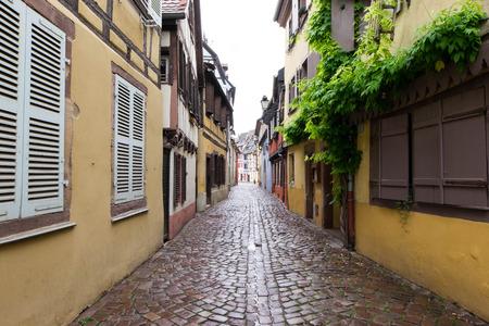Narrow path in Petite Venice, Colmar. Silent and nobody walks through it. Stock Photo