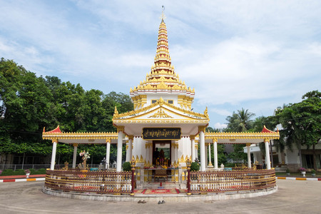 City Pillar Shrine, locates in Engineer Department of Military in Ratchaburi. Public place to worship and pray for prosperous and good luck. The sign said Ratchaburi City Pillar Shrine. Stock Photo
