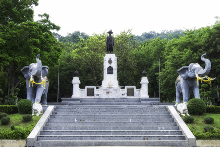 Memorial monument of King Rama I was written in white plate. The black one said he would praise Buddhism, protect homeland, people and government. The statue is located in Chakri monument park, Ratchaburi.